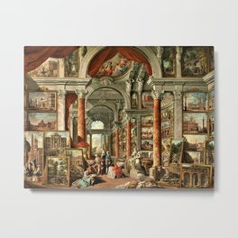 Giovanni Paolo Pannini 19th Century Masterpiece: Picture Gallery with Views of Modern Rome Metal Print