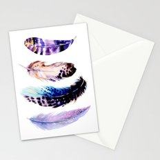 Watercolor feathers painting Stationery Cards