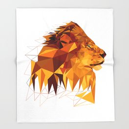Geometric Lion Wild animals Big cat Low poly art Brown and Yellow Throw Blanket