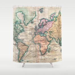 Vintage World Map 1801 Shower Curtain