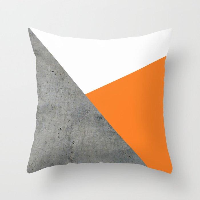 Concrete Tangerine White Throw Pillow