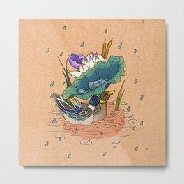 Minhwa: 2 Ducks under a Lotus Leaf D Type Metal Print