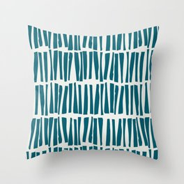 Turquoise Vertical Dash Stripe Line Pattern Sherwin Williams Trending Colors of 2019 Oceanside Dark Aqua Blue SW 6496 on Off White Throw Pillow