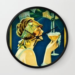 Vintage 1920's Calixtus Champagne Advertising Poster Wall Clock