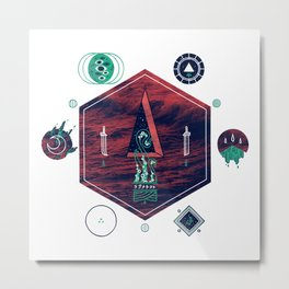 It fell from the stars, It rose from the sea Metal Print