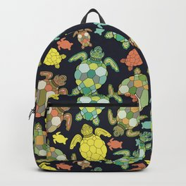 Colorful happy turtles. Backpack