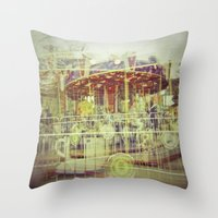 carousel Throw Pillows featuring Carousel  by Amber Hakim