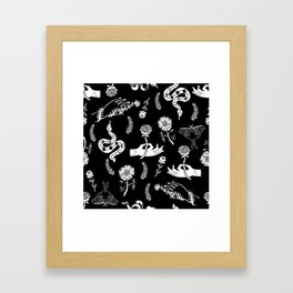 Linocut snakes hand rose floral black and white spooky gothic pattern Framed Art Print