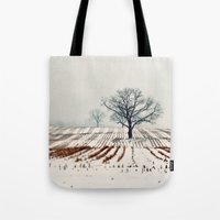 farm Tote Bags featuring Winter Farm by elle moss
