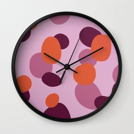 SIMPLE DOTS Pinks, Gold ON WHITE Wall Clock