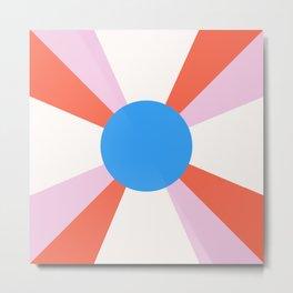 Retro Sun Rays - Mod Tones Metal Print