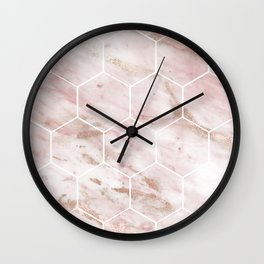 Pink marble with rose gold accents - hexagons Wall Clock