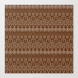 Mudcloth Style 1 in Brown Canvas Print