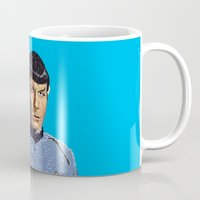 spock Mugs featuring Spock by Connor Corbett