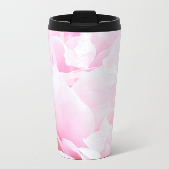 CREAMY PINK FLOWER Metal Travel Mug