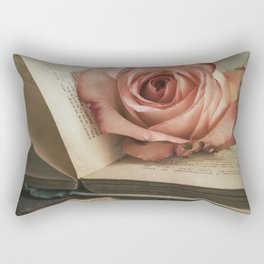 Still life with pink rose and old books Rectangular Pillow