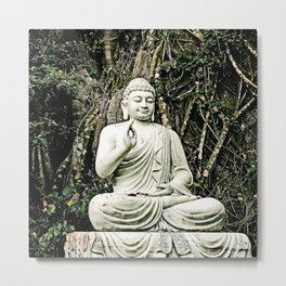 asian, religion, white old sitting buddha statue with raised hand Metal Print