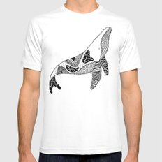 Patchwork Whale White Mens Fitted Tee MEDIUM