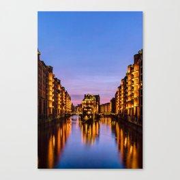 City of Warehouses - Speicherstadt in Hamburg, Germany Canvas Print