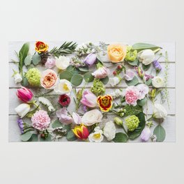 Colorful Boho Floral Layout Design Rug