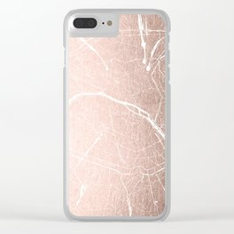 Paris France Minimal Street Map - Rose Gold Glitter on White Clear iPhone Case