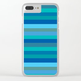 Blue Mod Stripes Clear iPhone Case