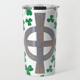 Celtic cross and Shamrock. St.Patrick's Day Travel Mug
