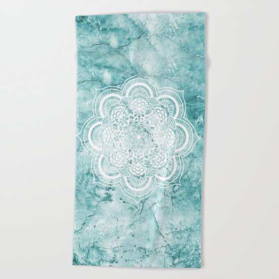 Mandala on teal marble. Beach Towel