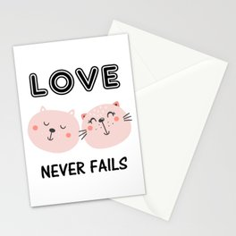 Love Never Fails Two Cats Stationery Cards