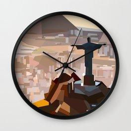 Geometric Christ the Redeemer, Brazil Wall Clock