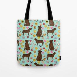 Chocolate lab emoji labrador retrievers dog breed Tote Bag