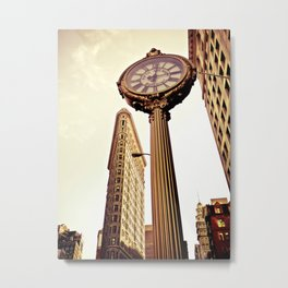 Flatiron Building and Fifth Avenue Clock - New York City Metal Print