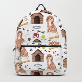 Cavapoo Half Drop Repeat Pattern Backpack