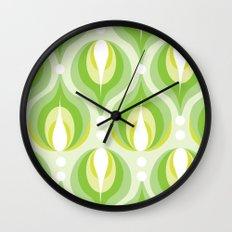 Green Dew Drops Wall Clock