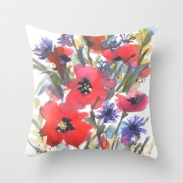 Big Poppy Field Throw Pillow