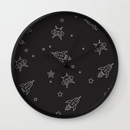 space encounters in black Wall Clock