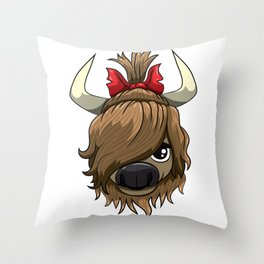 Highland Cow Girl Cute Scottish Cattle Throw Pillow