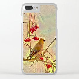 Bird waxwing Clear iPhone Case