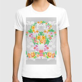 Wreaths from abstract flowers on floral background T-shirt