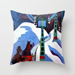 The Sleigh Ride - Ernst Ludwig Kirchner Throw Pillow