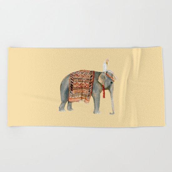 Elephant Ride on Sand Beach Towel