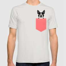 Kennedy - Boston Terrier cute dog themed gifts for small dog owners and Boston Terrier gifts  Silver Mens Fitted Tee MEDIUM