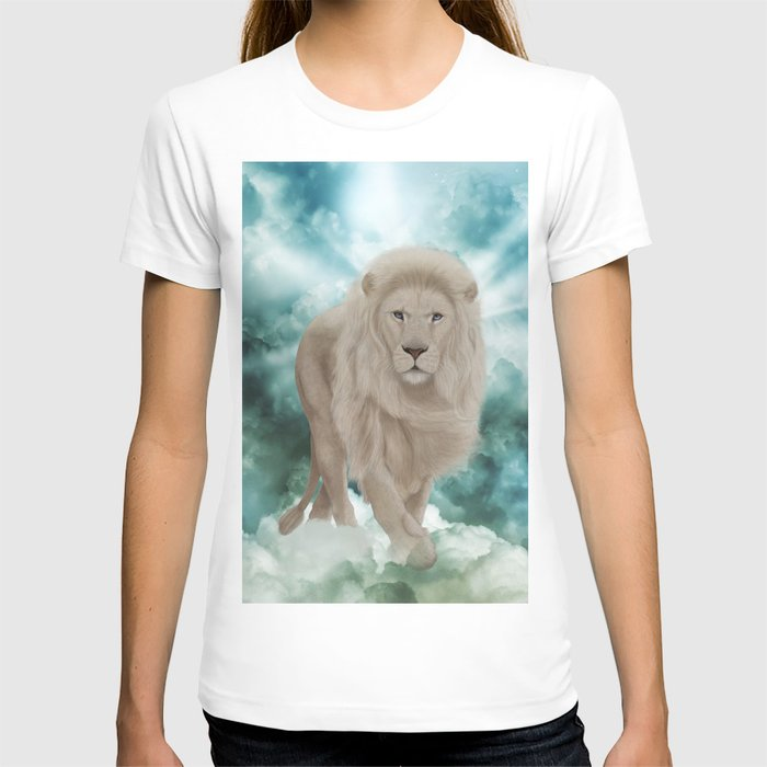 Awesome white lion in the sky T-shirt