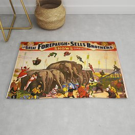 1899 Forepaugh & Sells Brothers Combined Circus Elephant Poster Rug