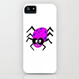 Drawing cartoon of a funny looking spider iPhone Case