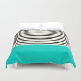 Aqua & Stripes Duvet Cover