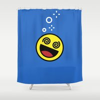 drunk Shower Curtains featuring Drunk Emoji by Birds & Kings