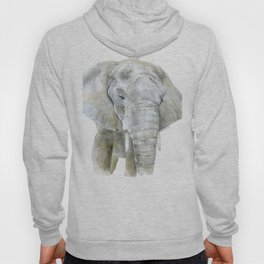 Elephant Watercolor Painting - African Animal Hoody