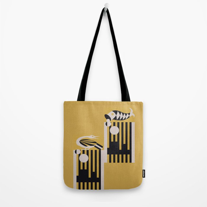 Art Deco Bird & Fish - Hemingway Tote Bag