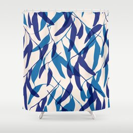 Gum leaves pattern in blue Shower Curtain